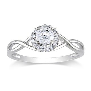 Miadora 10k White Gold 3/8ct TDW Diamond Halo Ring (G-H, I2-I3)