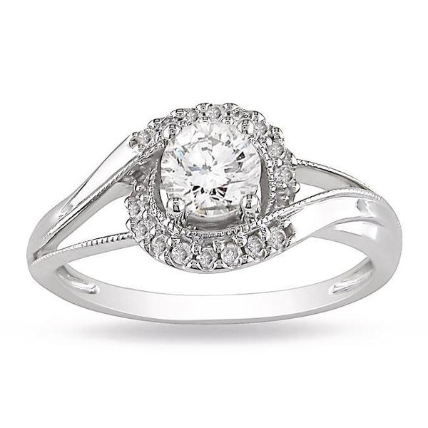 Miadora 14k White Gold 5/8ct TDW Diamond Halo Ring (G-H, I2-I3)