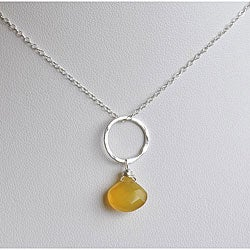 Silver and Honey Chalcedony Circle Pendant Necklace