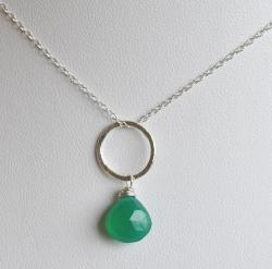 Silver and Green Onyx Circle Pendant Necklace