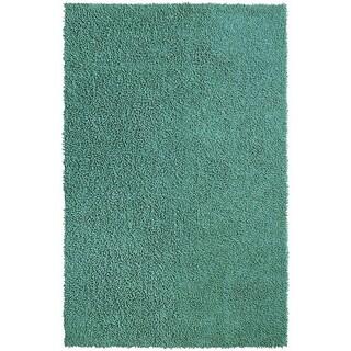 Hand-loomed Aqua Chenille Shag Rug (4' x 6')