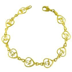 Fremada 10k Yellow Gold Diamond-cut Heart Bracelet