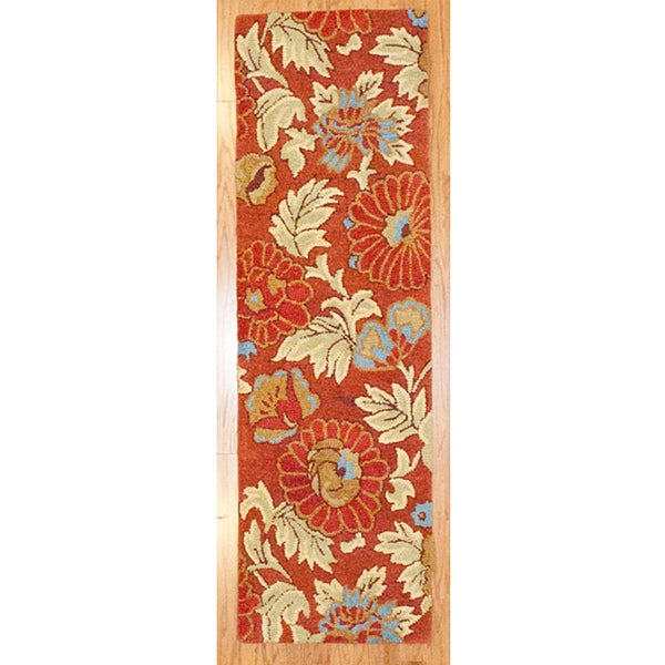 Hand-tufted Indo Rust/ Beige Wool Rug (2'2 x 7')