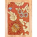 Hand-tufted Indo Rust/ Beige Wool Rug (1'9 x 2'6)