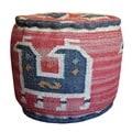 Handmade Kilim Round Puff Footstool (India)