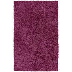 Hand-loomed Purple Chenille Shag Rug (4' x 6')