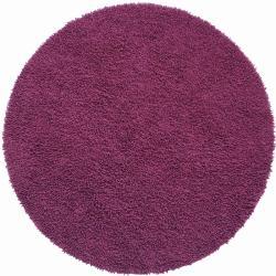 Hand-loomed Purple Chenille Shag Rug (5' x 5')