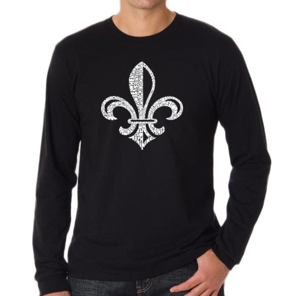 Los Angeles Pop Art Men's Black Fleur de Lis T-Shirt