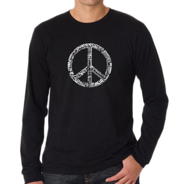 Los Angeles Pop Art Men's Black Peace Symbol T-Shirt 7441254