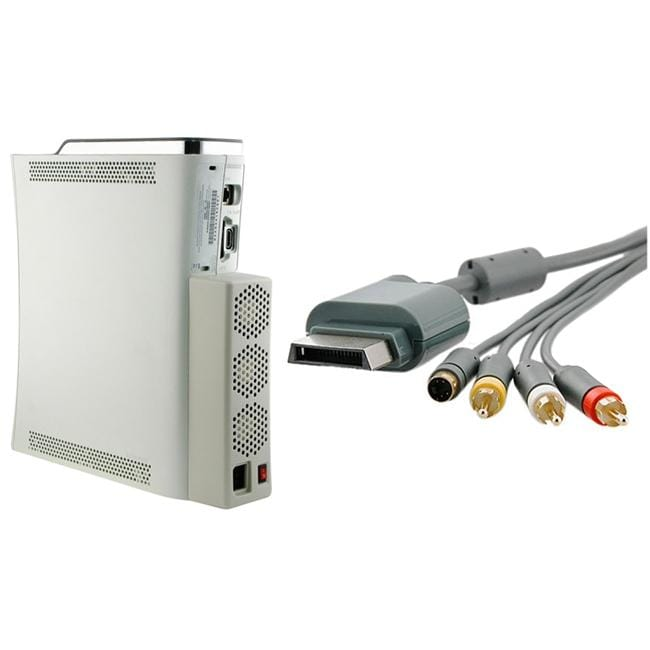 Composite and S-video Cable/ Cooling Fan for Microsoft Xbox 360