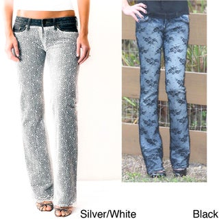 Denim and Lace Covered Jeans by Au Jus Jeans