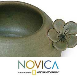 Set of 2 Ceramic 'Frangipani Flowers' Bowls (Indonesia)