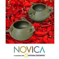 Set of 2 Ceramic 'Frangipani Flowers' Bowls (Indonesia)