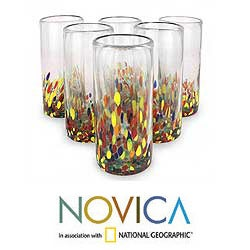 Set of 6 'Confetti' Highball Glasses (Mexico)