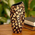 Coconut Shell 'Tropical Snow' Vase (Indonesia)