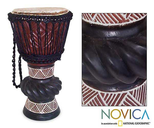 Wooden 'Ceremonial Celebrations' Djembe Drum (Ghana)