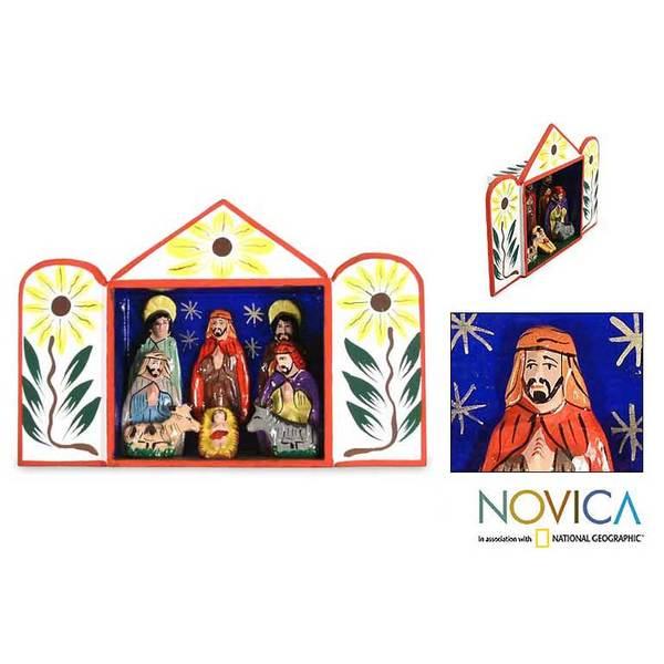Ceramic 'Caring for Baby Jesus' Nativity Scene (Peru)