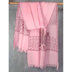 Wool 'Maple Rose' Shawl (India)