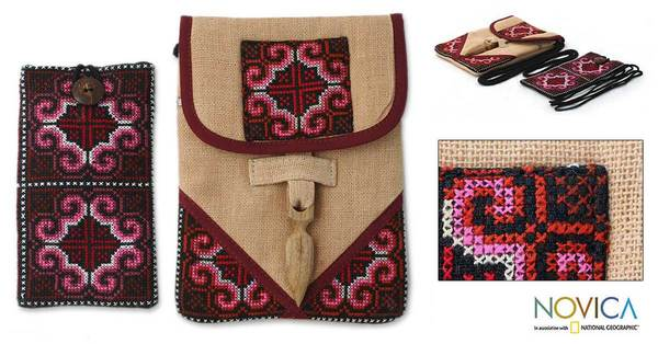 Hemp 'Ethnic Rose' Purse and Phone Pouch (Thailand)