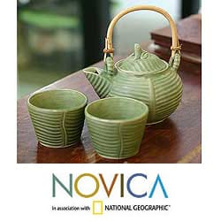 Ceramic 'Banana Frog' 2-person Tea Set (Indonesia)