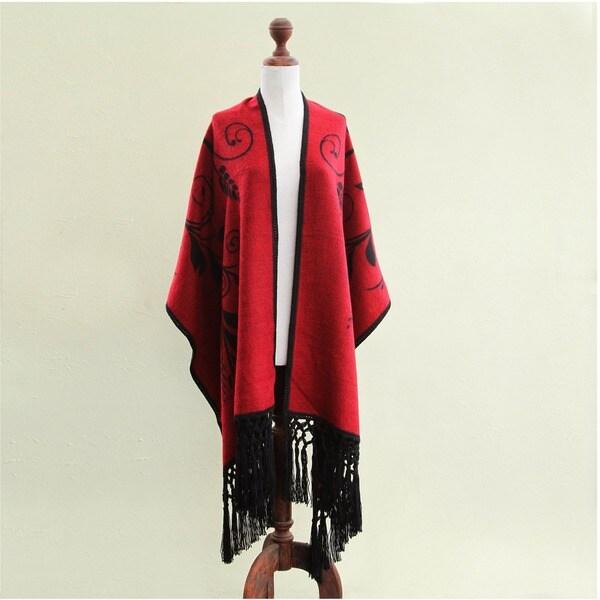 'Crimson Splendor' Alpaca Wool Ruana Cloak (Peru)