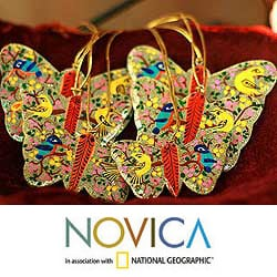 Set of 6 Wood 'Gleeful Butterflies' Ornaments (India)