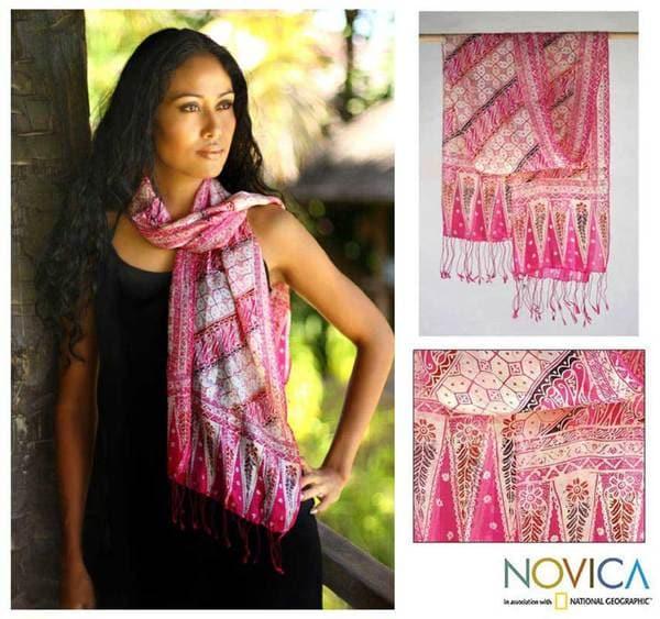 Silk 'Pink Fantasy' Batik Scarf (Indonesia)