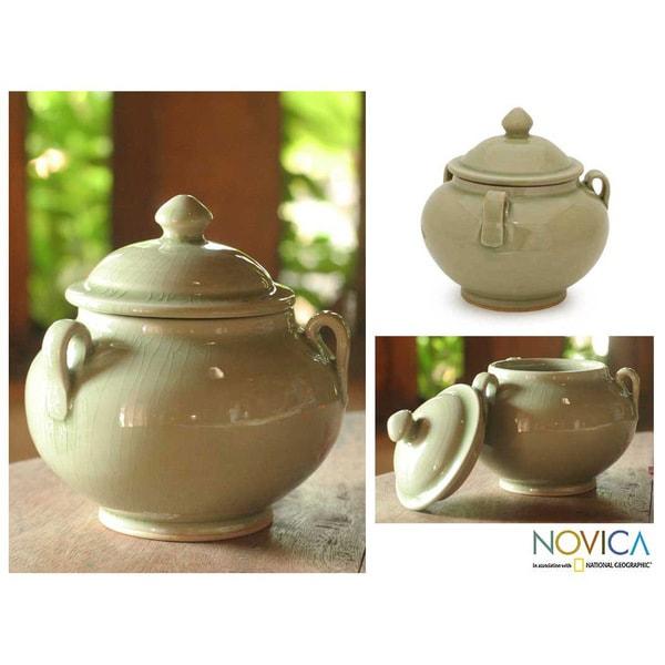 Celadon Ceramic 'Sleek Minimalism' Jar (Thailand)