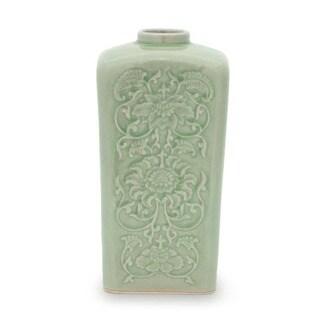 Celadon Ceramic 'Blue Sky Lotus' Vase (Thailand)