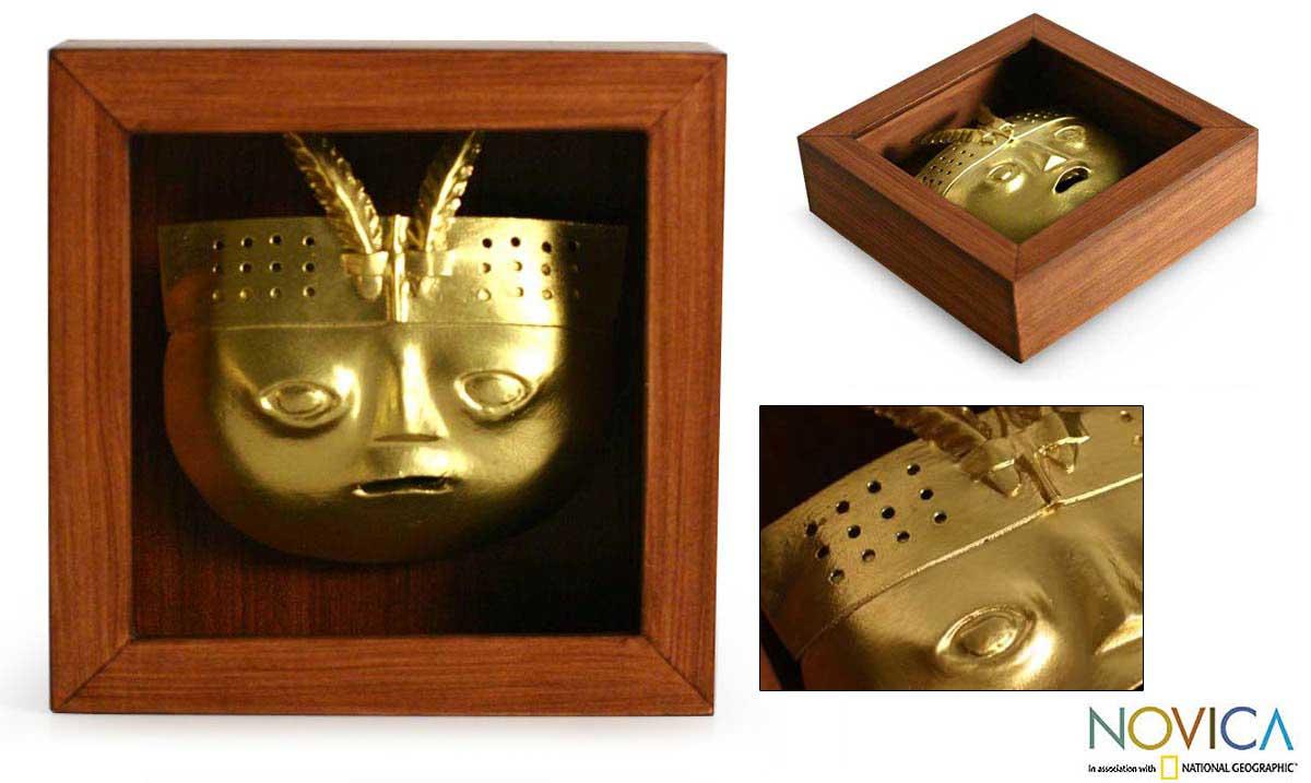Papier Mache 'Sican Mask' Shadow Box Mask (Peru)