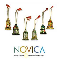 Set of 4 Wooden 'Holiday Medley' Ornaments (India)