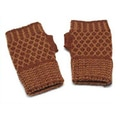 Alpaca Wool 'Cinnamon Honeycomb' Fingerless Gloves (Peru)