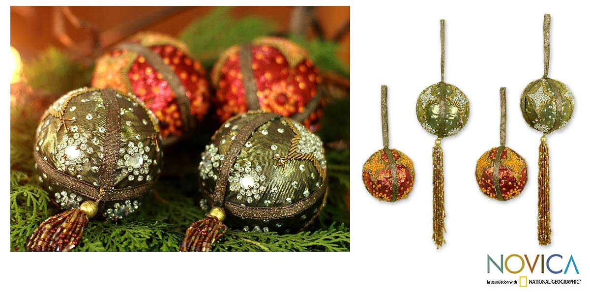 Set of 4 'Celebration' Beaded Ornaments (India)
