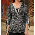 Cotton Women's 'Nocturnal Garden' Tunic (India)