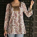 Women's Cotton 'Purple Paisley' Tunic (India)