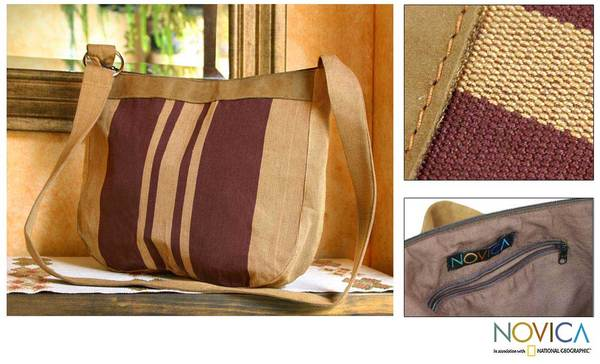 Handmade Cotton and Leather 'Half Moon' Shoulder Bag (Guatemala) 7446117