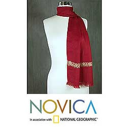 'Ruby Wine' Wool Scarf (India)