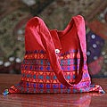 Cotton 'Crimson Tease' Shoulder Bag (India)