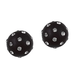 La Preciosa Sterling Silver Black Enamel and Embedded Crystal Stud Earrings
