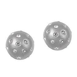 La Preciosa Sterling Silver Silver Enamel and Embedded Crystal Stud Earrings