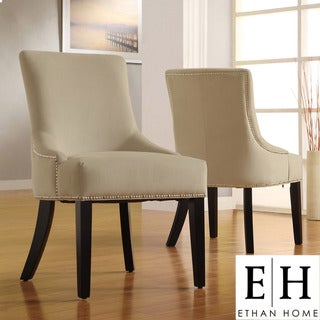 ETHAN HOME Westmont Sandstone Beige Velvet Decorative Nail-head Accent Chairs (Set of 2)