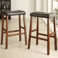 Tribecca Home Nova Black Saddle Cushioned Seat 29-inch Bar Stools (Set of 2)