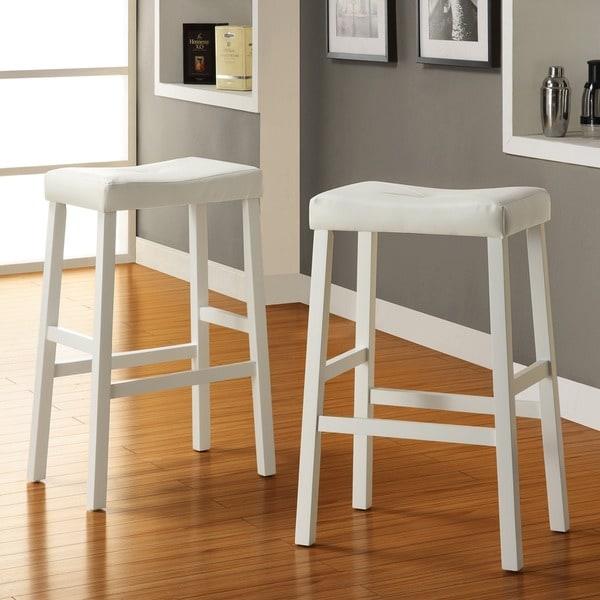 TRIBECCA HOME Nova White Saddle Cushioned Seat 29-Inch Barstool
