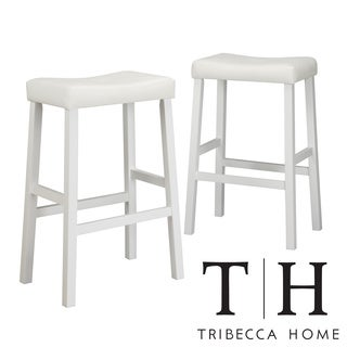 Tribecca Home Nova White Saddle Cushioned Seat 29-inc