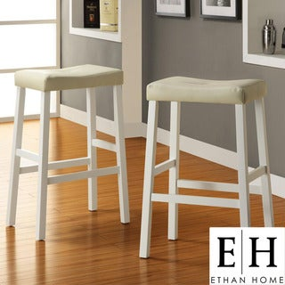 ETHAN HOME Nova White Saddle Cushioned Seat 29-inch Barstool (set of 2)