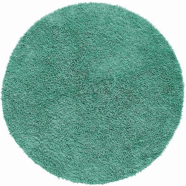 Hand-loomed Aqua Chenille Shag Rug (5' x 5')