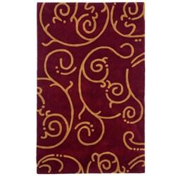 Hand-tufted Burgundy Archer Wool Rug (5' x 8')