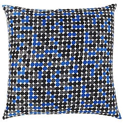 Faux Silk Black and Blue Dot Decorative Pillow