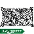 Faux Silk White and Black Circles Decorative Pillow