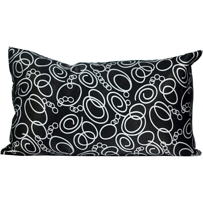 Faux Silk Black/ White Decorative Pillow